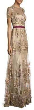 ML Monique Lhuillier Women's Floral-Applique Gown - Vintage - Size 2