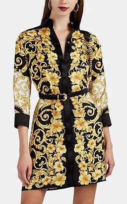 Versace Women's Hibiscus-Print Silk Shirtdress