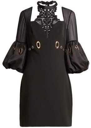 Self-Portrait Lace Panelled Cutout Crepe Mini Dress - Womens - Black