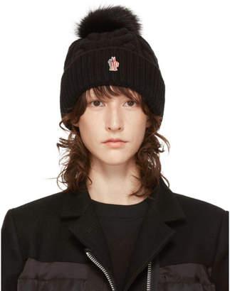 Moncler Black Fur Pom Pom Beanie