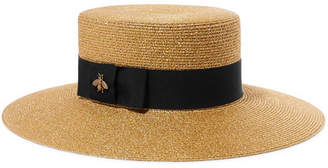 Gucci Grosgrain-trimmed Glittered Straw Hat - Gold