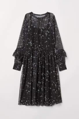 H&M Patterned Mesh Dress - Black