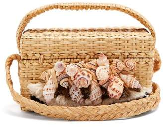 BEIGE Sanayi 313 - Iris Seashell Embellished Straw Box Bag - Womens