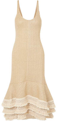 3.1 Phillip Lim Tasseled Crochet-knit Cotton-blend Maxi Dress - Neutral