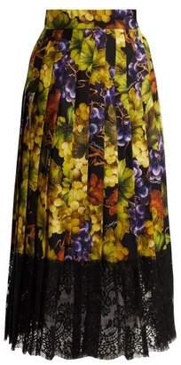 Dolce & Gabbana Grape Print Silk Blend Skirt - Womens - Black Multi
