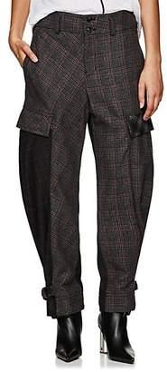 Yohji Yamamoto Regulation Women's Checked Wool-Blend Cargo Pants - Grey
