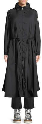 Moncler Mouette Long Raincoat w/ Removable Hood