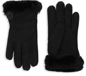 UGG Bailey Shearling-Trim Suede Gloves