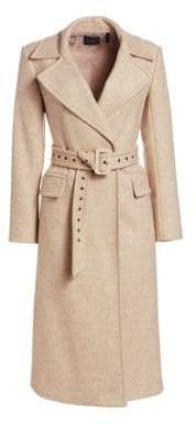 Theory Women's Perfect Belted Wool-Blend Trench Coat - Camel Multi - Size XS
