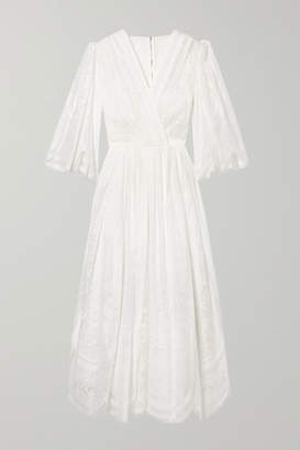 Dolce & Gabbana Wrap-effect Cotton-blend Lace Midi Dress - White