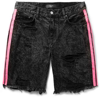 Amiri Thrasher Neon-Striped Distressed Denim Shorts