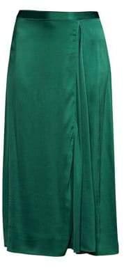 Eileen Fisher Women's Godet Stretch Silk Midi Skirt - Pine - Size 4