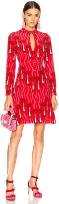 Valentino Chiffon Lipstick Waves Printed Mini Dress in Red   FWRD