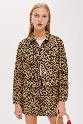 Topshop Leopard Print Fitted Denim Jacket