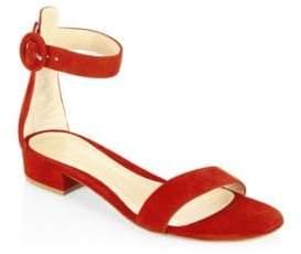 Gianvito Rossi Women's Portofino Suede Ankle-Strap Flat Sandals - Cobalt - Size 35 (5)