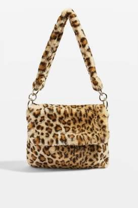 Topshop Leopard Print Teddy Faux Fur Shoulder Bag