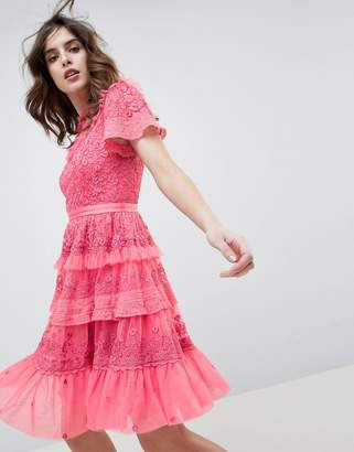 Needle & Thread high neck layered mini dress with ruffle sleeves in hot pink