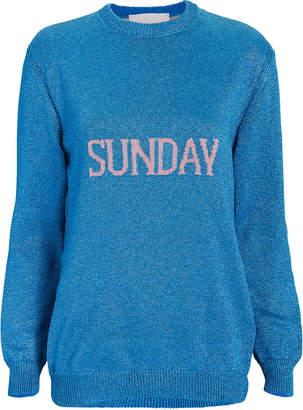 Alberta Ferretti Sunday Blue Lurex Oversized Sweater