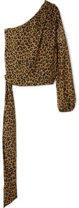 Michelle Mason - One-shoulder Leopard-print Silk-chiffon Top - Leopard print