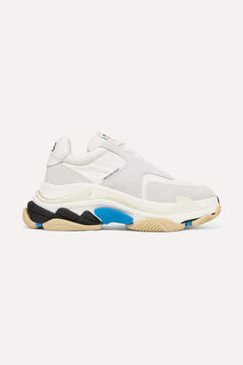 Balenciaga Triple S Logo-print Leather And Suede Sneakers - White
