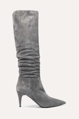 Prada Suede Knee Boots - Gray