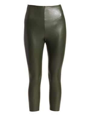 Commando Women's Faux Leather Leggings - Pine - Size Large