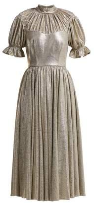 Emilia Wickstead Benito Metallic Gathered Midi Dress - Womens - Silver