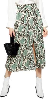 Topshop Python Print Pleat Midi Skirt