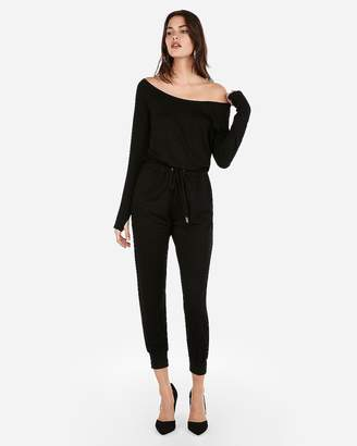 Express Olivia Culpo Off The Shoulder Tie Waist Jumpsuit