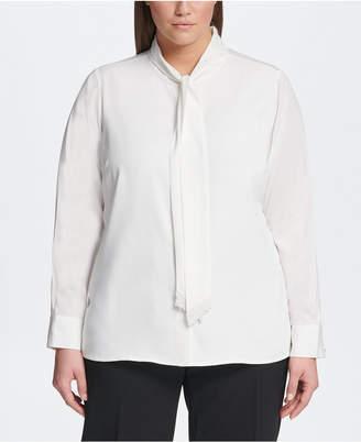 Calvin Klein Plus Size Tie-Neck Blouse