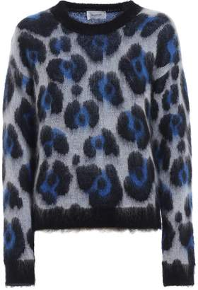 Dondup Animal Print Jacquard Mohair Blend Sweater