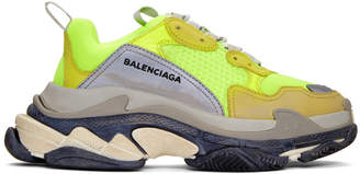 Balenciaga Yellow Neon Triple S Sneakers