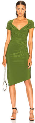 Norma Kamali Sweetheart Side Drape Dress in Olive | FWRD