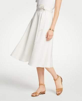 Ann Taylor Petite Linen Blend Tie Waist Skirt
