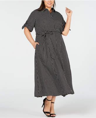 Calvin Klein Plus Size Polka-Dot Maxi Shirt Dress