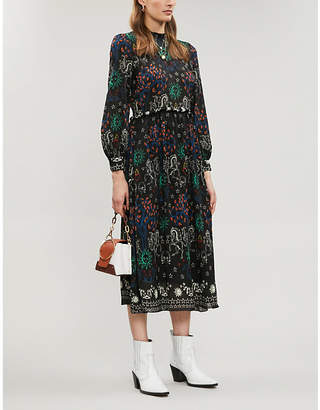 Sandro Grassette conversational-print frilled-trim chiffon dress
