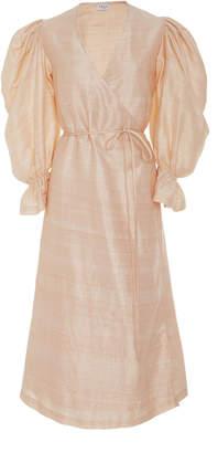 Rhode Resort Emilia Wrap-Effect Silk-Shantung Dress