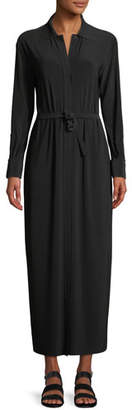Norma Kamali Long-Sleeve Maxi Shirtdress w/ Belted Waist