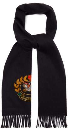 Burberry Crest Embroidered Cashmere Scarf - Womens - Navy