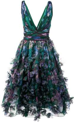 Marchesa floral-appliquéd midi dress