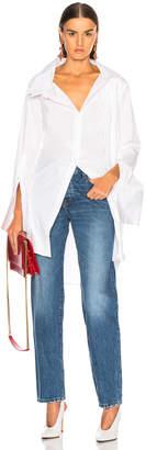 Monse Long Double Collar Shirt in White   FWRD