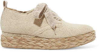 Pedro Garcia Gavi Linen Espadrille Platform Sneakers - Mushroom