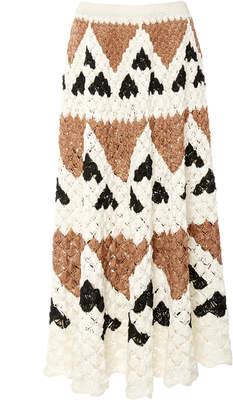 Oscar de la Renta Scalloped Crocheted Silk Midi Skirt