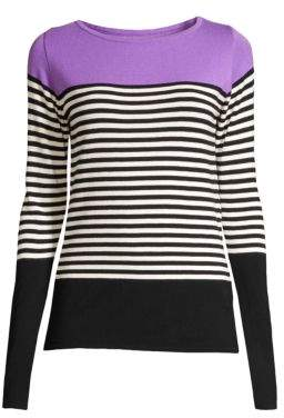 Beatrice. B Women's Colorblock Stripe Knit Pullover - Lilac - Size 46 (8)