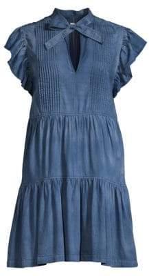 Rebecca Taylor Women's Plisse Ruffled Denim Shift Dress - Giverney Wash - Size XS