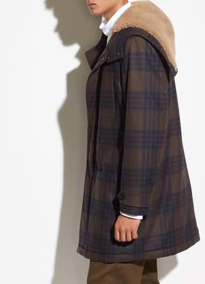 Plaid Wool Duffle Coat