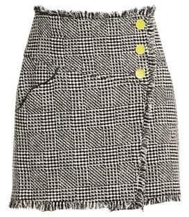 Tanya Taylor Women's Monti Tweed Fringe Skirt - Black White - Size 6