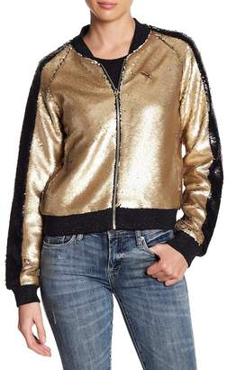 Blank NYC BLANKNYC Denim Sequin Two Tone Bomber Jacket