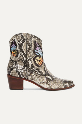 Sophia Webster Shelby Embroidered Snake-effect Leather Ankle Boots - Snake print