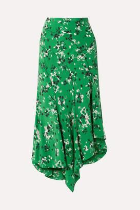 Veronica Beard Mac Asymmetric Floral-print Silk-blend Midi Skirt - Green